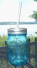 BALL 1 PINT BLUE MASON JAR  WITH CUSTOM SIP LID & REUSABLE STRAW