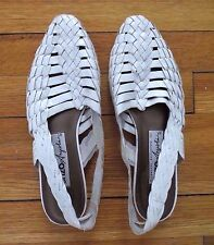 Vintage Enzo Angiolini white leather woven slingback flats shoes sandals size 9M