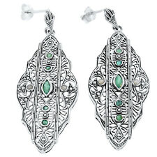 GENUINE EMERALD SEED PEARL .925 SILVER ANTIQUE DESIGN FILIGREE EARRINGS,     #57