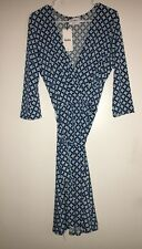 LEOTA Women's Printed Perfect Wrap Dress Size XL Blue And Teal