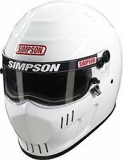 SIMPSON SPEEDWAY RX HELMET SNELL SA2015 GLOSS WHITE L LARGE 60cm 7 1/2 HANS
