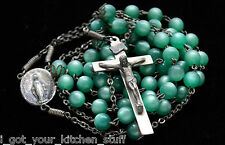 Vintage Antique Sterling Silver Rosary Beads Catholic Religious Seafoam Green
