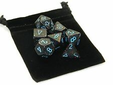 New Chessex Polyhedral Dice with Bag Blue Stars Speckled 7 Piece Set DnD RPG