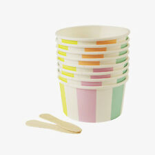Meri Meri Striped Ice Cream Tubs Retro Vintage Summer Children's Party x8