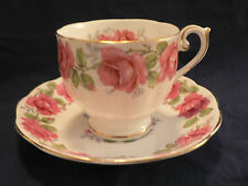 BELL CHINA TEA CUP AND SAUCER LADY ALEXANDER DARK PINK ROSES BLUE WISP ACCENTS