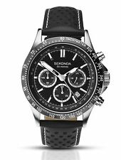 Sekonda Mens Chronograph & Tachymeter Sports Watch Black Leather Strap 1227