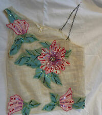 Size 6-8 Thai Silk Blouse festival applique diamante flowers hippy boho steampun