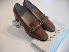 scarce! nwot never worn 1960s vintage gucci shoes . enamel fittings . size 37.5
