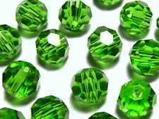 50Pc 4mm Peridot Green Swarovski 5301 Grade Austrian Crystal Faceted Round Beads