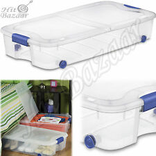 UNDER BED STORAGE Containers Shoe Clothes Bin Box Closet Organizer 66 Qt 4 Pack
