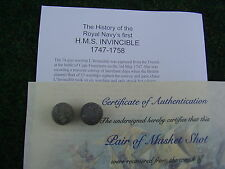 UN BOXED Flintlock Double Musket Ball from 1758  HMS Invincible ShipWreck