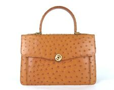 100% Genuine Ostrich Leather Hand Bag Camel