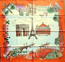 LONGCHAMP Schal Tuch Seide  rost orange creme weiß Paris Eiffelturm NEU!