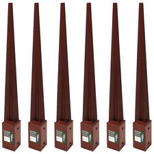 6X FENCE POST HOLDER 750MM X 75MM SPIKE SUPPORT RUST RESISTANT METAL STAKES 3""