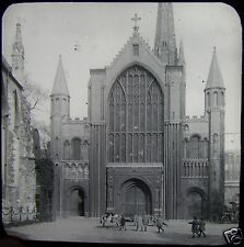 Glass Magic Lantern Slide NORWICH CATHEDRAL WEST FRONT C1900 PHOTO ENGLAND