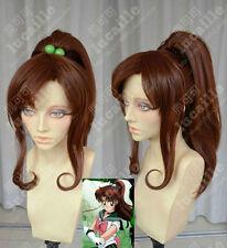 Sailor Moon Sailor Jupiter Kino Makoto Cosplay Party Wig Hair Clip Ponytail