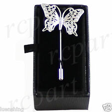 New in box Men's Suit brooch chest metal butterfly shape silver lapel pin formal
