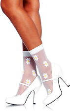 Super Cute Sheer Spandex Woven Daisy Ankle Socks Anklets Hosiery Adult Women