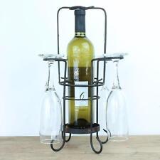 Wine bottle and glasses holder rack stand metal rustic vintage black bottles