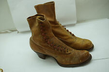 ANTIQUE LADIES SHOES HIGH BUTTON VICTORIAN BROWN HEELS ENDICOTT JOHNSON LEATHER