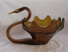 MURANO TYPE ART GLASS LARGE SWAN BOWL (DARK AMBER)