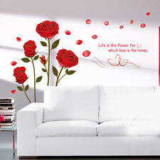 New Red Rose Flower Removable Quote Wall Sticker Mural Room Art Decor Vinyl