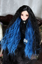 "1/3 8-9"" BJD DOLL WIG SD BLACK BLUE LONG WAVY LUTS DOLLFIE JR-37 USA NEW"