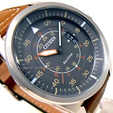 CITIZEN MEN ECO DRIVE AVIATOR LEATHER BIG FACE DATE 100m AW1360-12H cg