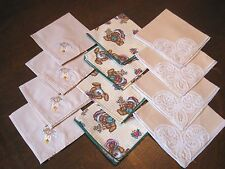 LOT of 12 - 3 SETS of 4 Vintage Napkins - Teddy Bear Print,Tulip Embroidery,Lace