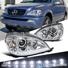 2002-2005 Benz W163 ML320 ML350 ML55 AMG Chrome SMD LED DRL Projector Headlights