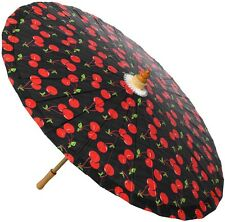 Sourpuss Black Cherries Pin-Up Parasol Retro Pinup