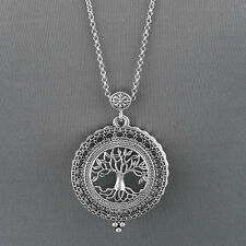 Antique Silver Chain Tree Of Life Magnifying Glass Locket Pendant Necklace