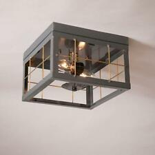 COUNTRY tin new Double ceiling light w/brass bars / Nice