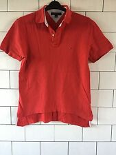 MENS VINTAGE RETRO TOMMY HILFIGER SHORT SLEEVE RED POLO TOP T SHIRT MEDIUM #124