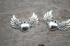 10PCs Heart with Wings Angel Wings Wing Pendant Heart Charm  Silver  38*28MM