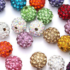 20Pcs Mixed Crystal Rhinestone Pave Clay Round Spacer Loose Bead Disco Ball 10MM