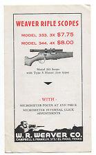 1940s Brochure for Weaver Rifle Scopes Weaver Co El Paso TX