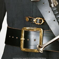 "59"" Genuine Leather Pirate Belt Brass Buckle Medieval Renaissance Costume LARP"