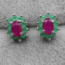 FINE! Natural Red Ruby & Green Emerald Silver Plated Stud Earrings