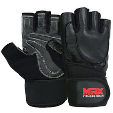 Weight Lifting Gloves Fitness Gym Glove Cowhide Leather Long Strap Black, XLarge