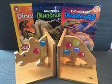 Solid Wood Dinosaur Bookends Triceratops with 3 Dino Books Jurassic Paleo Kids