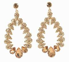 OPEN DROP GOLD AUSTRIAN CRYSTAL RHINESTONE CHANDELIER DANGLE EARRINGS STUD E2075