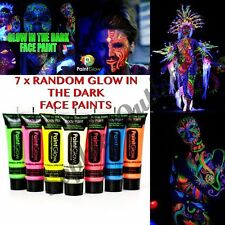 7x Glow In The Dark Neon Face & Body Paint 10ml SET of 7 Fluorescent (WAX BASED)