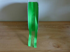 5 Metres Of Green Wire Edged Ribbon Width 3.8cm / 1.5 in Christmas Wrapping.