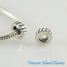 LINED .925 Solid Sterling Silver EUROPEAN RUBBER STOPPER Spacer Bead Charm