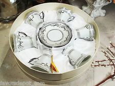 12 Piece Espresso Set 6 Cup 6 Saucer In Hat Box Deco Silver coffee gift set