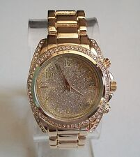 GENEVA GOLD FINISH GLITTER DIAL FASHION HIP HOP BLING WOMEN'S BOYFRIEND WATCH