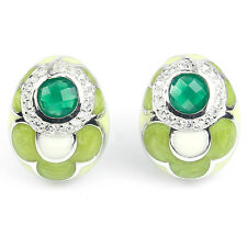 Natural GREEN AVENTURINE & WHITE CZ .925 STERLING SILVER ENAMEL EARRINGS