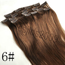Clip in 100% Human Hair Extensions Brown Straight Hair #6 22inches 55cm 80g