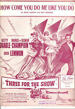 """THREE FOR THE SHOW """"How Come You Do Me Like You Do"""" Betty Grable Jack Lemmon"""